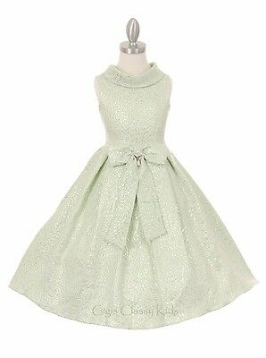 New Flower Girls White Silver Dress Wedding Party Pageant Christmas Fancy Easter