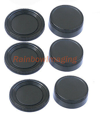 3 pcs x Rear Lens Cover + Camera Body Cap for Nikon DSLR replaces LF-1 BF-1B