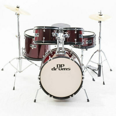 Kids 5 Piece Junior Drum Kit Wine Red Complete Beginner Set Cymbals Stool Sticks