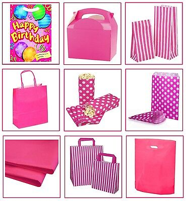 Girls Pink Birthday Party Supplies ~ Gift Loot Bags ~ Plate Box ~ Cake Sweet Bag