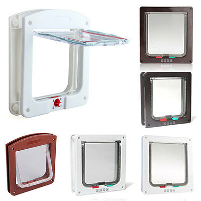 White Brown Frame 4 Way Locking Lockable Pet Cat Small Dog Flap Door S M L SIZE