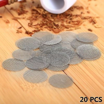 """20X Silver Stainless Steel Tobacco Smoking Pipe Screen 20mm 0.78"""" Metal Filters"""