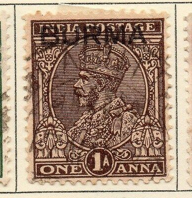 Burma 1937 Early Issue Fine Used 1a. Optd 025906