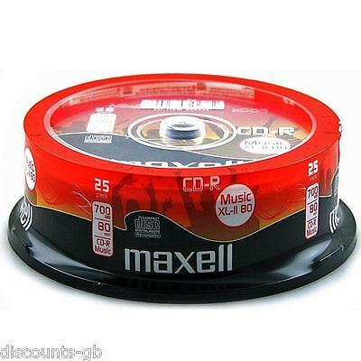 MAXELL MUSIC CDR 25 Pack Spindle Cased Recordable CD's - 25 Discs -AUDIO FORMAT