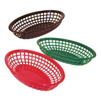 "Winware by Winco Oval Plastic Fast Food Basket - 9-1/2"" Color Brown - CASE of 12"