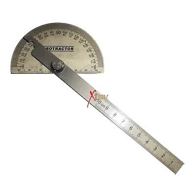 Stainless Steel Rotary Protractor Angle Rule Gauge New