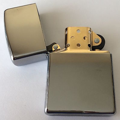 Zippo Windproof 2-Tone Polished Chrome Lighter With Gold Insert,  250BI, NIB
