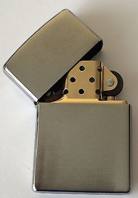 Zippo Windproof 2-Tone Brushed Chrome Lighter With Gold Insert 200BI, New In Box