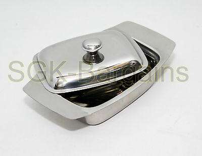 Stainless Steel Butter Dish Tray Holder Retro With Lid Serving Storage Kitchen