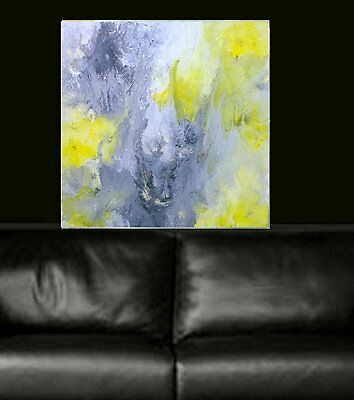 Stunning white black yellow Modern Painted Abstract Canvas Painting Original Art