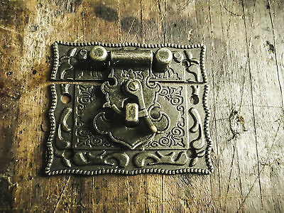 Catches Latches - Box Hasp Latch carved pattern antique brass for boxes & cases