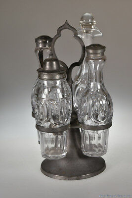 3Q 1800's TULIP AND OVAL by Unknown FLINT CRYSTYL Four Bottle Caster Set