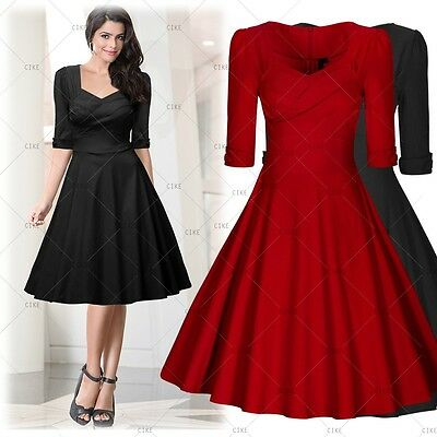 Women's Casual Evening Party Ladies Vintage Prom Bodycon Flared Swing Dresses