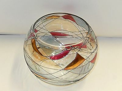 Euroglass Stained Glass Crystal Bowl Milano Noir Pattern - Mouthblown In Romania