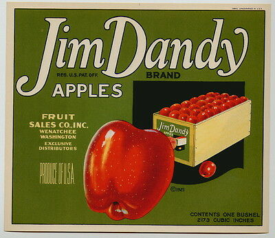 JIM DANDY Vintage Wenatchee Washington Apple Crate Label, **AN ORIGINAL LABEL**