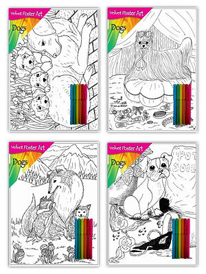 Velvet colouring cards, set of 4 pictures with 6 fibre art pens, various designs