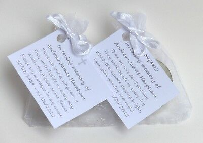 Funeral candles. Personalised Remembrance & Memorial tealight favours. Loved one