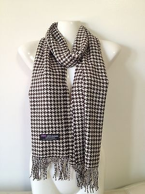 100% Cashmere Scarf Made In Scotland Houndstooth Design Brown Color Super Soft