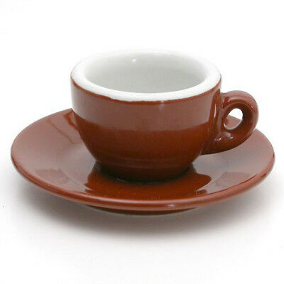 Nuova Poin Espresso Porcelain Set, Brown & White - PACK of 12