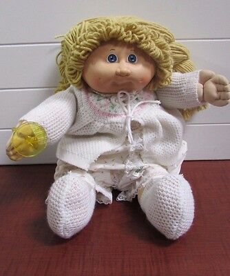 Vintage Cabbage Patch Doll Signed Blond Braids with Sweater & Booties, 16""