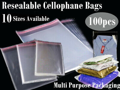 100x Clear Cello OPP Flat Bag Seal Resealable Cellophane 5Sizes Party Favors YW