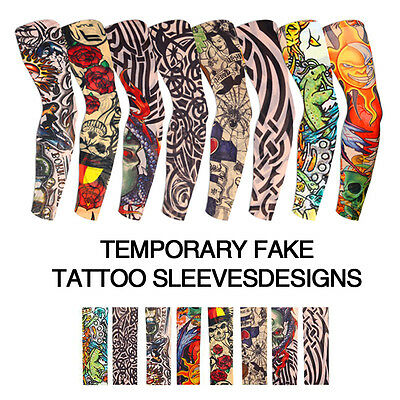 8 Pcs Fake Nylon Temporary Tattoos Sleeves Arm Stockings For Cool Men Women