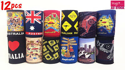 12x Australian Souvenirs Stubby Holder Can Holder Cooler Mix Design Color
