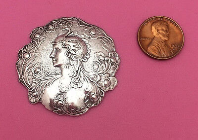 Beautiful Antique Silver Plated Brass Peacock Goddess-No Hole - 1 Pc