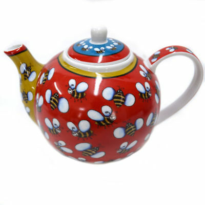 Teapot Ceramic China Porcelain Mothers Day Tea Bumble Bee Red Funky 950ml