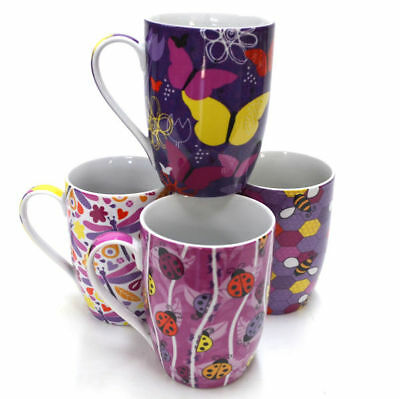 Coffee Mug Dragonfly Butterfly Bee Design Drinking Tea Ceramic Mugs Set 4 2457