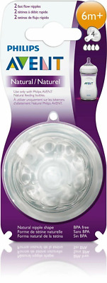 Avent - 6 Month Natural Teats Nipples Fast Flow 2 PACK Baby Feeding Bottle