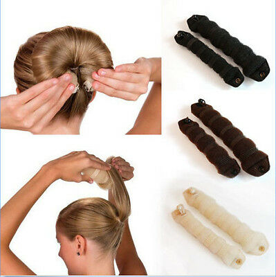 2pcs Sponge Hair Styling Donut Bun Maker Magic Former Ring Shaper Tool CAMG1
