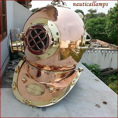 Vintage Solid Brass Copper Scuba Divers Diving Helmet US Navy Marine Divers Gift