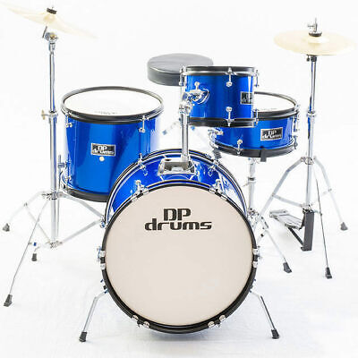 Blue Kids 4 Piece Junior Drum Kit Complete Beginner Set Cymbals Stool Sticks New