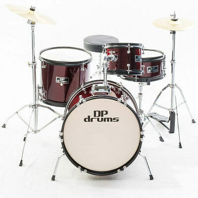 Kids 4 Piece Junior Drum Kit Wine Red Complete Beginner Set Cymbals Stool Sticks