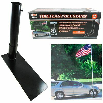 """16"""" Tire Flag Pole Stand Steel Tire Mount Tailgate Wheel Stand Holder Durable"""