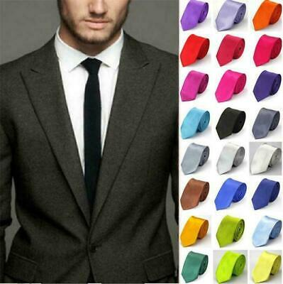 Mens Classic Slim Skinny Wedding Solid Plain Satin neck Tie Necktie