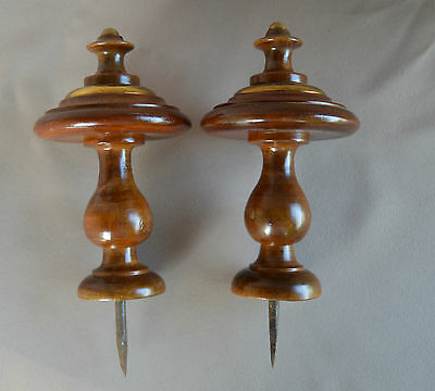 Brass & Walnut Wood Pair of Curtain-Rod Bed Finials - French Home Decor n°1