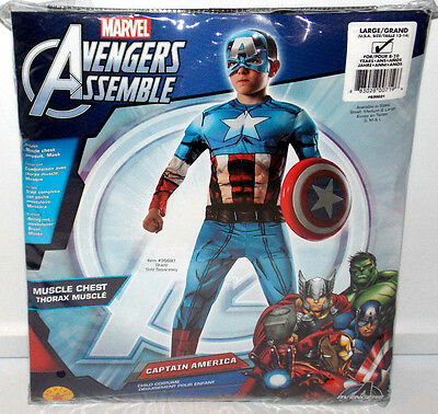 Avengers Captain America Deluxe Muscle Chest Halloween Boys Kids Costume Large