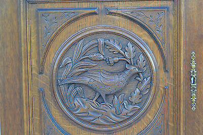 French Antique Carved Oak Wood Architectural Door Panel Hunt Bird Medallion