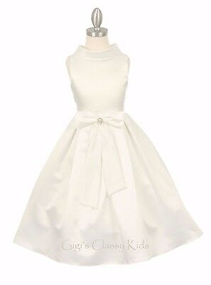 New Ivory Flower Girls Satin Dress Party Pageant Christmas Wedding Easter Fancy