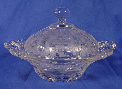 Cambridge Glass Covered Butter Dish ROSE POINT MINT!