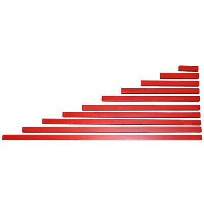 MONTESSORI Materials 10 WOODEN RED RODS Long Stair SENSORIAL Exercise Homeschool