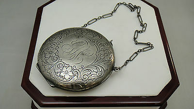 Antique Victorain Art Nouveau Sterling Silver Coin Purse Compact