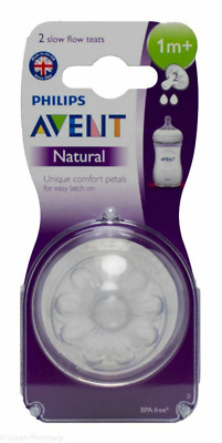 Avent - 2 x Natural Teats / Nipples - Slow Flow - 1m+ - Brand New - Baby