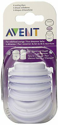 Avent - 6x Sealing Discs For Milk Or Food Storage - Brand New