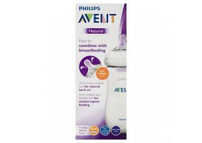 Avent - Natural Feeding Bottle 6 Month Teats CLEAR 330ML Baby Milk Drink Large