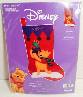 "New Disney Winnie The Pooh ""Pooh's Presents"" Christmas Stocking Janlynn #1133-25"