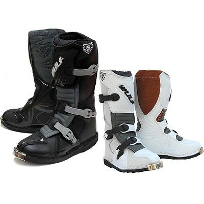 Wulfsport Cub Boot LA Off Road Motocross Kids Youth Boots Black/White ALL SIZES