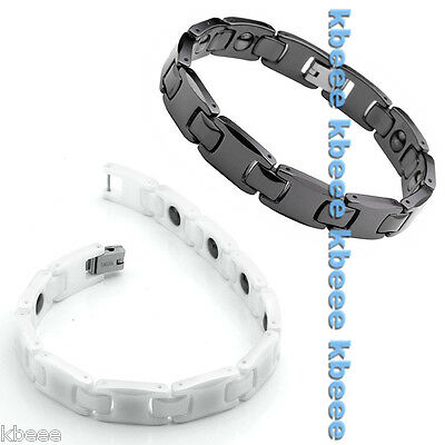 Mens Ceramic Steel Energy Magnetic Therapy Power Health Bracelet Wristband Cuff